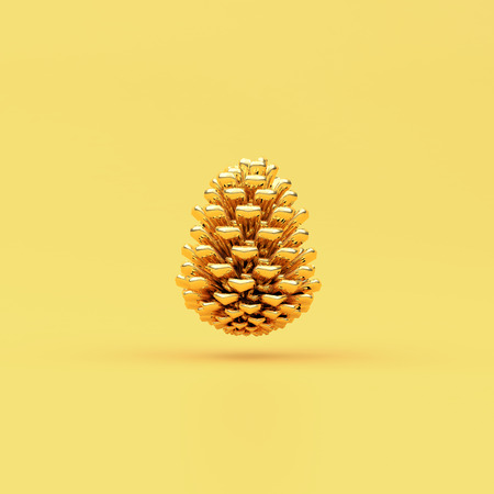 Golden Christmas Decoration Pine minimal concept art with clipping path.