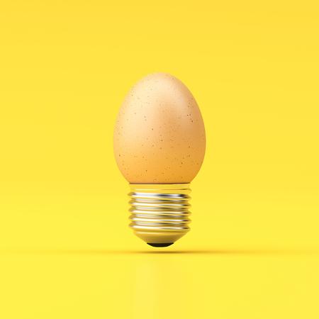 3d illustration Idea Design Concept Egg Bulb - minimal idea conceptual.