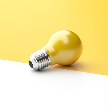 3d illustration Idea Design Concept, Yellow Bulb on two tone brightness background - minimal idea conceptual. Stock Photo