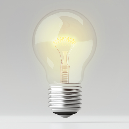 Simply lighting Bulb on White background - 3d illustration Minimal background.