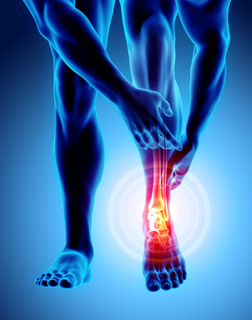 Ankle painful - skeleton x-ray, 3D Illustration medical concept. Stock Photo