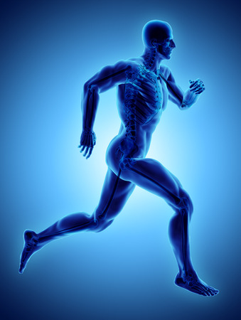 3d illustration male running pose with x-ray skeleton joint, medical concept.