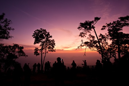 viewpoint: Sunrise at viewpoint in national park image Stock Photo