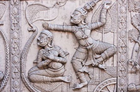Thai style sculpture wall of temple,Wat Phrananchoeng, Ayutthaya Thailand photo