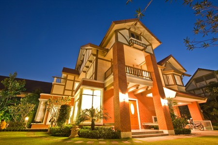 My house on evening background image photo