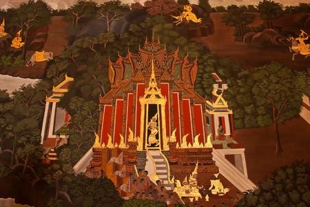 Thai art style painting on temple wall, Thailand photo