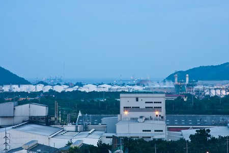 oil park: Oil refinery and factory in Thailand industial park on morning Stock Photo