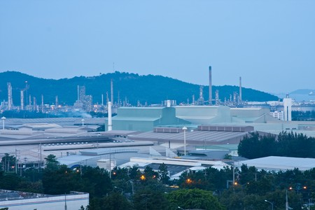 Oil refinery and factory in Thailand industial park on morning photo
