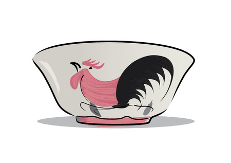 earthenware: A chicken bowl is a chinese style ceramic bowl. thats very popular in Thailand.