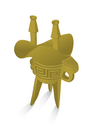 The tripod pot grail or wine cup of ancient Chinese dynasty. Illustration