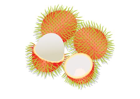 rambutan: a group of rambutan, peel off skin show inside.