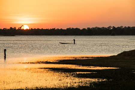 Sunshine in the evening,have fisherman  boating, sunset background, lanscape background