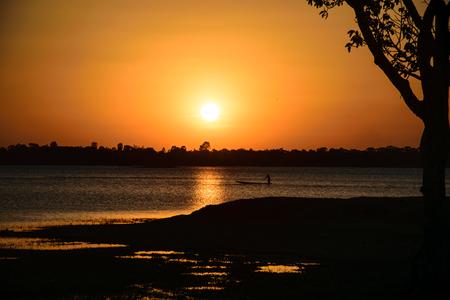 Sunshine in the evening, inside river, sunset background