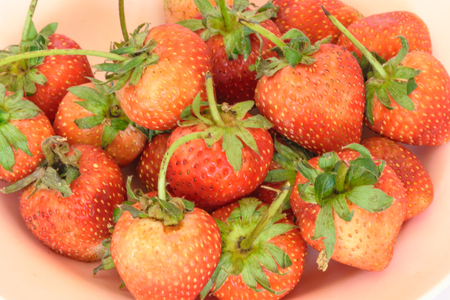Strawberry be fresh, placed on the disk, Strawberry background Stock Photo