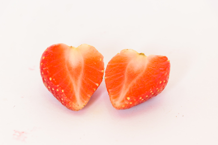 strawberry isolated white background,be fresh fruit in valentines day, concept heart shape,white background