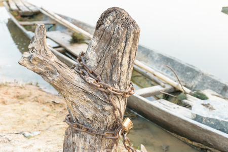 Shackle is chaining the stump on the side of river, boat in the river background