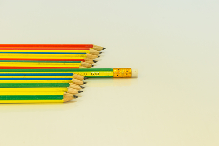Pencils row concept, object isolated, white background