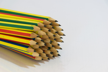 Pencils is circle shape, object is isolated, white  background