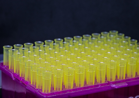 autopipette yellow tips is isolated, black background