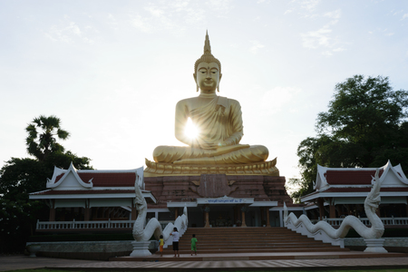 Buddha is beautiful landscape in Thailand,image  in the evening,sunlight background ,Ubonratchatani, Thailand
