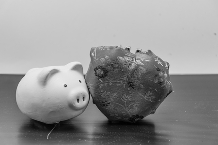 piggy bank and heart box is isolated with black -white background,concept black white image