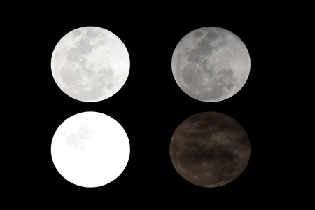 four super , lighting full moon with black background