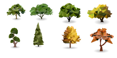 set tree polygon asset, geometric and triangle shape, nature forest for saving green earth planet, vector art and illustration, polygon design concept.