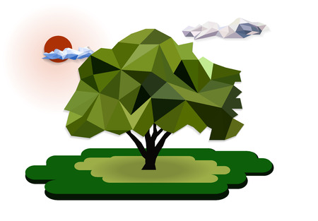 one tree polygon asset, geometric and triangle shape, nature forest for saving green earth planet, vector art and illustration, polygon design concept. Ilustracja