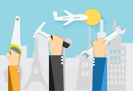 Work together vector, Handle Tool, hammer, wrench and saw with tower city background, and plane, vector art and illustration.