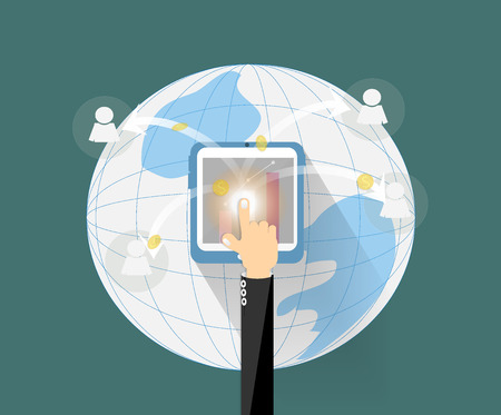 Hand touching tablet go to business network pass social around the world , growth money network concept. Ilustracja