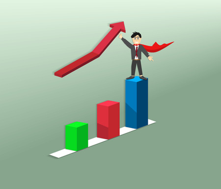 One of the tasks. Businessmen pushed the arrow up. Business progress in the future, according to the bar chart.business growing up by superhero, vector art and illustration.