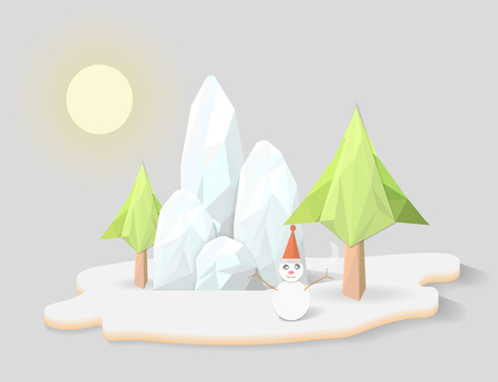 Snowflake with mountain landscape and sunny sky background, Christmas celebration holiday concept, polygon design, triangle and geometric shape, low poly modelling effect, vector art and illustration.