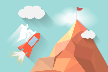 spaceship flying go to target on mountain higher,white man leadership business concept, mountain polygon design with cloudy sky background, vector art and illustration Ilustracja