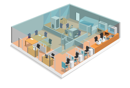 Laboratory The hospital is divided into working areas.Including blood chamber.Blood Separation Room, Blood Bank Room, Office Room, and Central Laboratory,Isometric design, vector art and illustration.