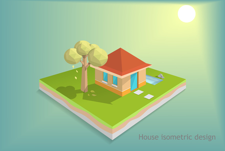 small house on green field with sunset background, tree low poly design, house isometric design, and cross section land field, vector art and illustration, saving energy concept.