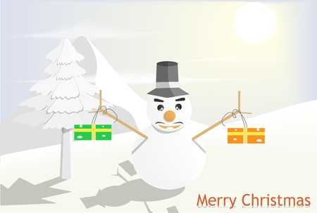 Snowman standing holding a gift box. The backdrop is a snow mountain. And the sun was shining in the morning. Christmas day concept, vector art and illustration.