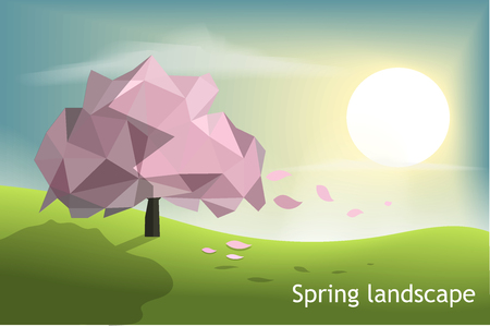 Pink tree low poly with green field and sunset blue sky background,spring and winter season concept, vector art and illustration,polygon triangle and geometric shape design,nature landscape.