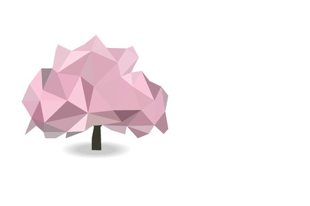 Pink tree low poly is isolated with white background, nature art object concept, polygon and geometric ,triangle shape design, vector art and illustration.