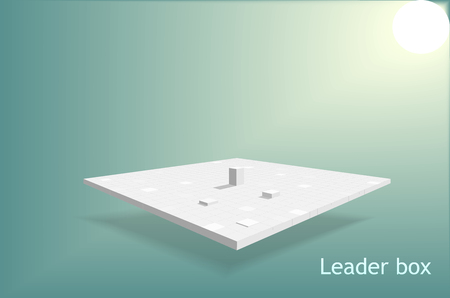 Leader square box on table isometric with sunlight background, business success concept, isometric shape design, vector art and illustration.