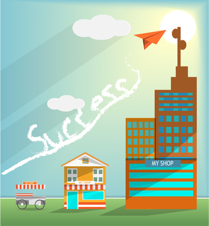 Business shop growing go to target, small shop to industry idea, air plane flying above to target with sunset blue sky and cloudy, business growth concept,vector art and illustration.