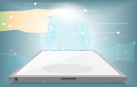 Touch the future planet,data technology digital flow pass internet global on mobile phone and tablet,with blue background,network connection digital data concept,vector art and illustration. Ilustracja