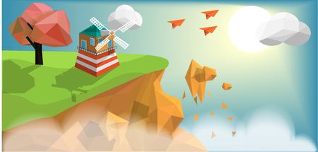 Wind turbines house on green island with sunset cloudy blue sky background and paper air plane flying above island, vector art and illustration Zdjęcie Seryjne - 120809223
