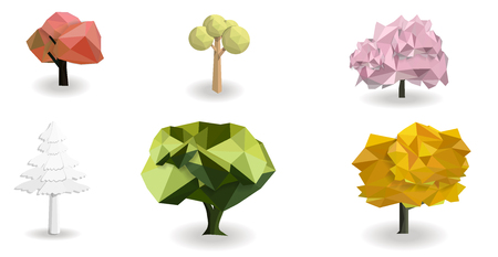 tree set low poly design isolated with white background, vector art and illustration