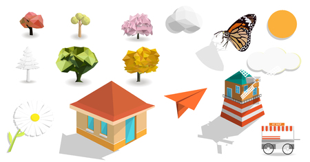 Nature and object set isolated with white background, tree colorful,paper plane, butterfly, clouds,house, flower,sun and wind turbine house, vector art and illustration.