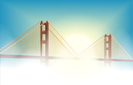 dream bridge with cloudy and sunset blue sky background, vector art and illustration.