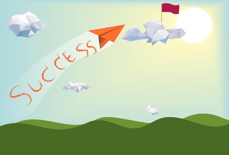 Go to success,paper plane flying above green landscape with low poly white clouds and sunny background,blue sky backdrop,creative success business leadership concept,vector art and illustration.