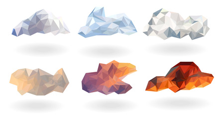Colorful spring season clouds low poly set collection,isolated with white background,polygonal triangle and geometric shape design,cloudy objects nature concept,vector art and illustration. Ilustracja