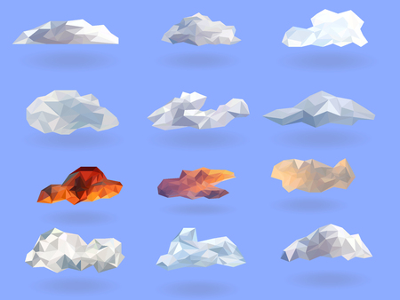 clouds low polygon set isolated with blue background