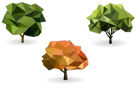 tree low poly vector set Ilustracja