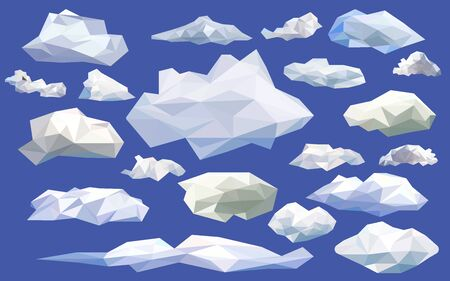 Set white clouds low poly isolated icons with blue background. triangle and geometric shape design. modelling clouds for gaming object, vector art and illustration.